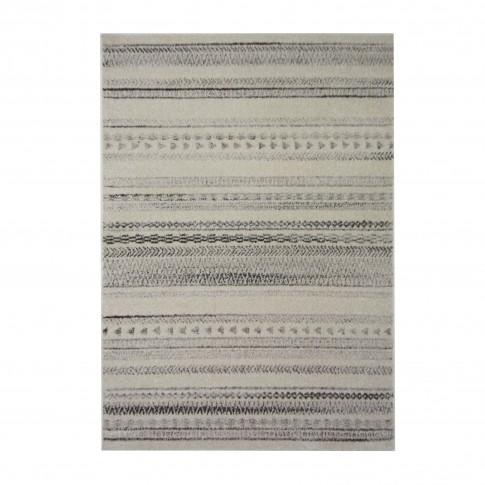 Covor living / dormitor McThree Casin 7081 V14 polipropilena frize, heat-set dreptunghiular crem - gri 120 x 170 cm