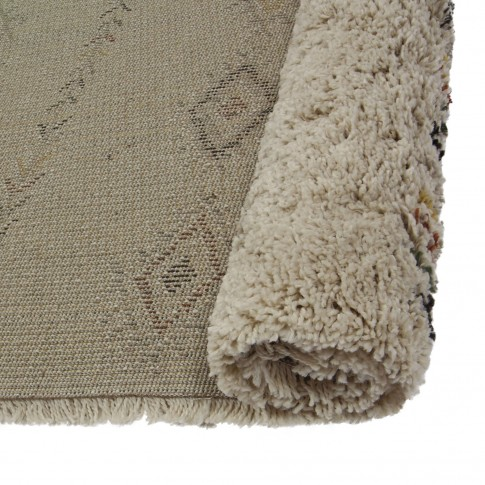 Covor living / dormitor McThree Boho 9043 H901 polipropilena frize, heat-set dreptunghiular crem 80 x 150 cm