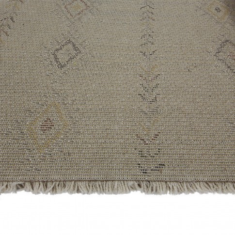 Covor living / dormitor McThree Boho 9043 H901 polipropilena frize, heat-set dreptunghiular crem 120 x 170 cm