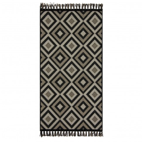 Covor living / dormitor McThree Origin 8207 9H58 Jute polipropilena flatweave dreptunghiular negru 80 x 150 cm