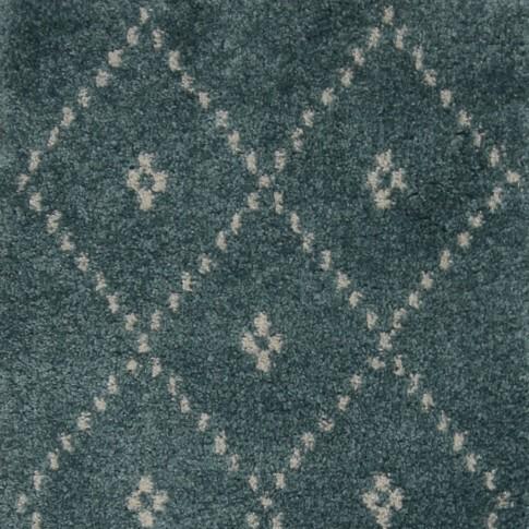 Covor living / dormitor McThree Royal 9550 3A31 polipropilena frize dreptunghiular albastru turcoaz 80 x 150 cm