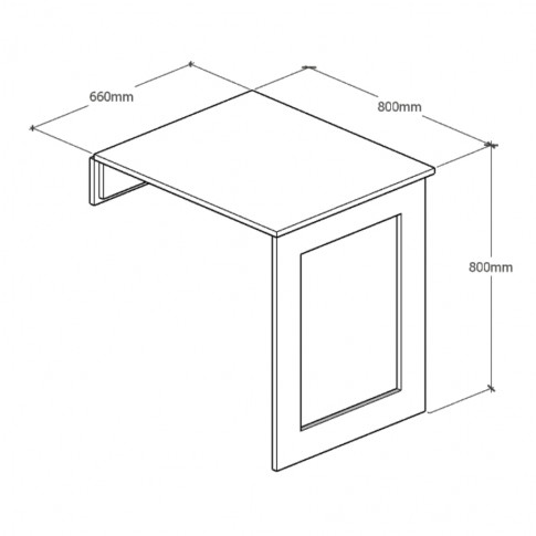 Masa bucatarie de perete, plianta, Crina, dreptunghiulara, 2 persoane, stejar albit, 80 x 66 x 80 cm, 1C