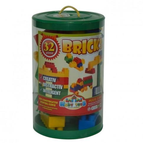 Jucarie creativa, pentru copii, cuburi de constructie, din plastic, set 32 de piese