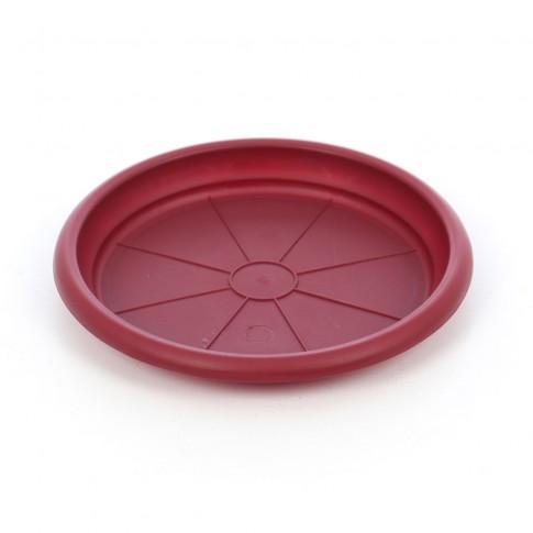 Farfurie ghiveci Dalia, plastic, rotund, visiniu, D 13.8 cm
