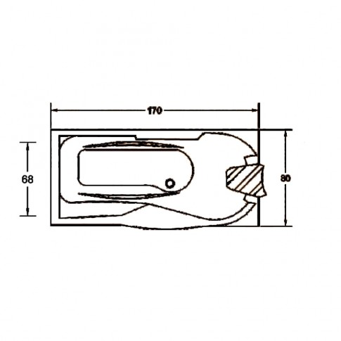 Cada baie cu hidromasaj rectangulara, montaj pe dreapta, Kadda Daniela, baterie, masca frontala si laterala incluse, acril, 170 x 80 cm