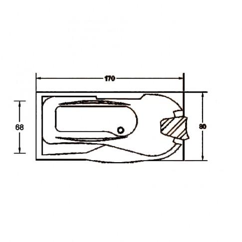 Cada baie cu hidromasaj rectangulara, montaj stanga, Kadda Daniela, baterie, masca frontala si laterala incluse, acril, 170 x 80 cm