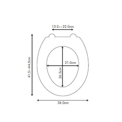 Capac WC din polirasina, KT-038PD19, gri, inchidere standard, 360 x 415 mm