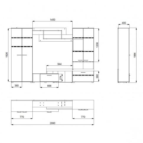 Biblioteca living Joy, stejar sonoma + wenge, 299 cm, 4C