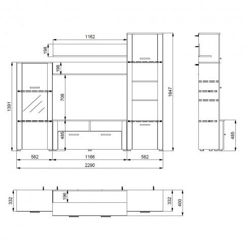 Biblioteca living Opus, wenge + stejar sonoma, 229 cm, 3C
