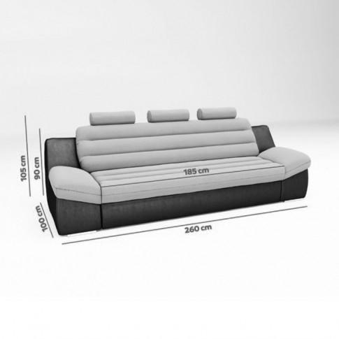 Canapea extensibila 3 locuri Wog, gri + negru, 260 x 100 x 105 cm, 4C