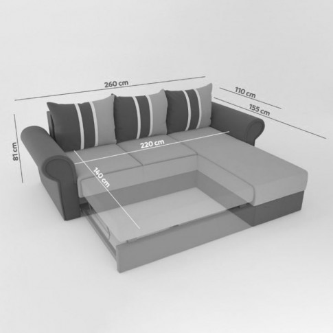 Coltar living extensibil pe stanga Soleto, cu lada, crem + model vintage bej, 260 x 155 x 81 cm, 4C