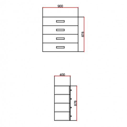 Comoda dormitor Stefan DS14, cu 4 sertare, stejar + alb, 90 x 88 x 40 cm, 2C
