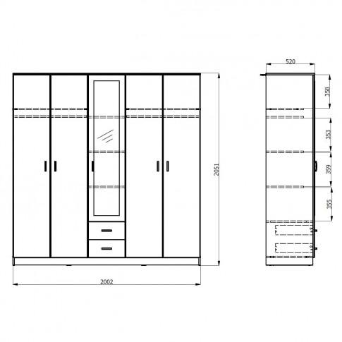 Dulap dormitor Hana 5K2F1O, stejar sonoma, 5 usi, cu oglinda, 200 x 52 x 205 cm, 5C