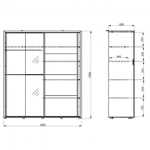 Dulap dormitor Logan 180, sonoma + alb, 2 usi glisante, 184 x 61 x 206 cm, 3C