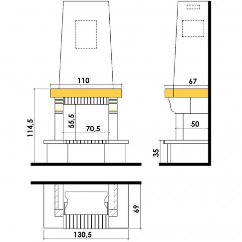 Finisaj semineu Chazelles Solo CS10700PC, Mauzens, 131 x 115 x 69 cm