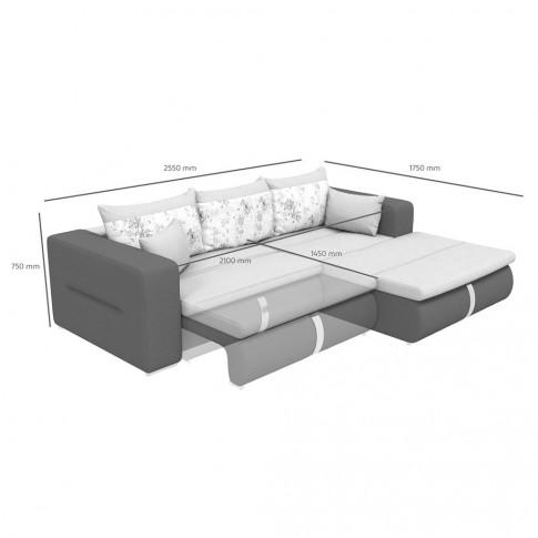 Coltar living extensibil pe stanga Vega, cu lada, crem + maro, 255 x 175 x 75 cm, 5C