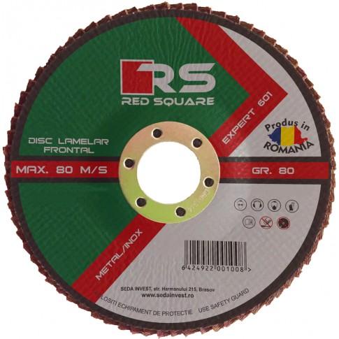 Disc lamelar frontal, pentru otel / inox, Red Square, 115 x 22 mm, granulatie 60