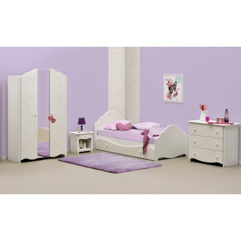 Pat pentru copii Alice, 1 persoana, alb, 90 x 200 cm, 2C