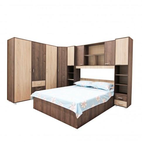 Ancadrament dormitor Anda, stejar bronz + stejar sonoma, 4 usi, 244 x 42 x 205 cm, 4C