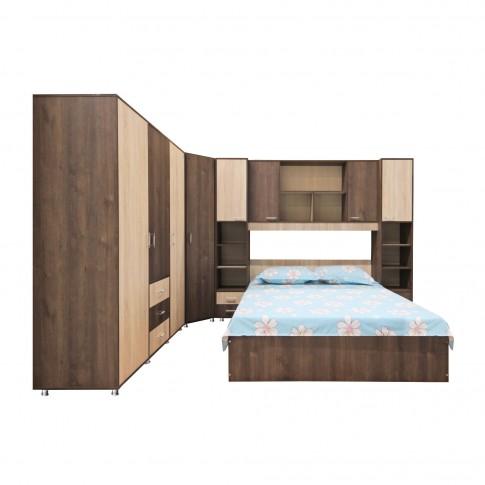 Pat dormitor Anda, matrimonial, stejar bronz + stejar sonoma, 160 x 200 cm, 2C