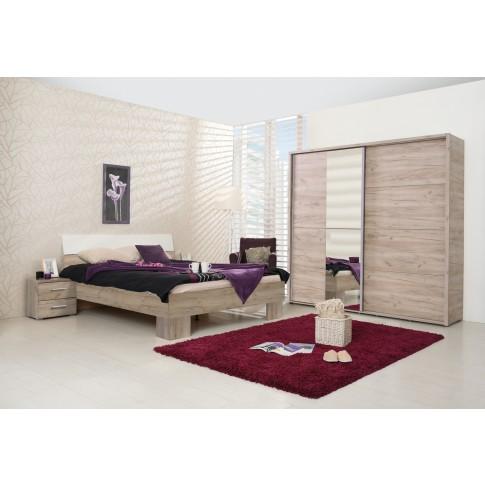 Dulap dormitor Logan 180, stejar gri, 2 usi glisante, cu oglinda, 184 x 61 x 206 cm, 3C