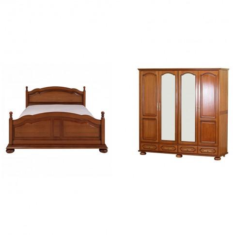 Dormitor Picardie, pat + dulap, stejar antichizat patinat, 6C