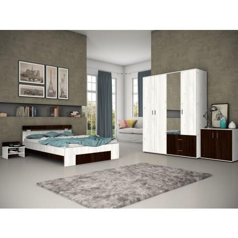 Pat dormitor Raul, matrimonial, cu sertar, gri A480 + sonoma dark, 140 x 200 cm, 3C