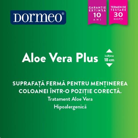 Saltea pat Dormeo Aloe Vera Plus, ortopedica, 1 persoana, cu spuma Ecocell, fara arcuri, 80 x 200 cm