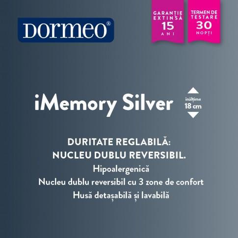 Saltea pat Dormeo iMemory Silver, ortopedica, 1 persoana, cu spuma memory, fara arcuri, 90 x 200 cm