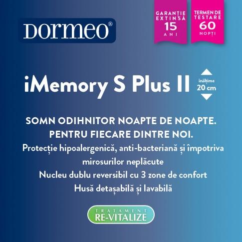 Saltea pat Dormeo iMemory S Plus II, cu spuma memory + Ecocell, cu arcuri din spuma, 140 x 200 cm