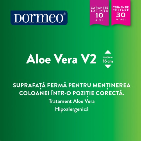 Saltea pat Dormeo Aloe Vera V2, ortopedica, 1 persoana, cu spuma Ecocell, fara arcuri, 90 x 200 cm