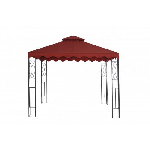 Pavilion gradina patrat cadru metalic + poliamida rosu 3 x 3 m