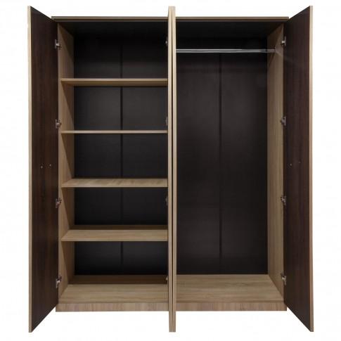 Dulap dormitor Adam, stejar bardolino + sonoma dark, 4 usi, cu oglinda, 162 x 51 x 204 cm, 4C