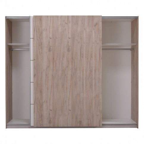 Dulap dormitor Pegaz stejar gri  +  alb, 262.5 x 66 x 222 cm 8C