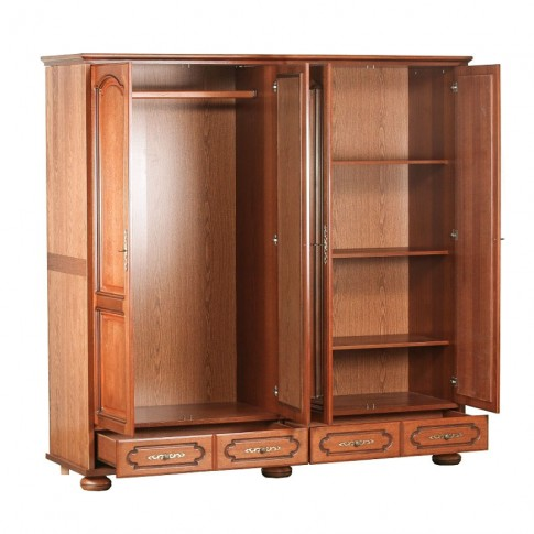 Dulap dormitor Picardie, stejar antichizat patinat, 4 usi, cu oglinda, 196.8 x 60 x 196.5 cm, 4C