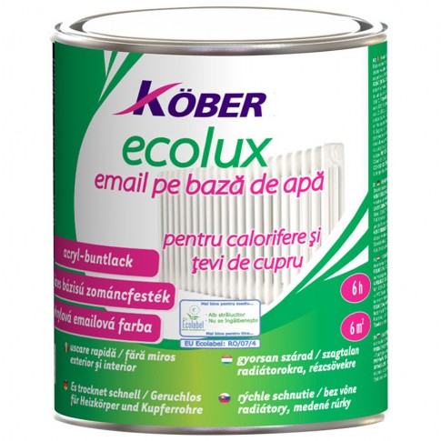 Vopsea acrilica pentru calorifere si tevi cupru, Kober Ecolux, interior / exterior, pe baza de apa, alb V82101-C, 0.75 L