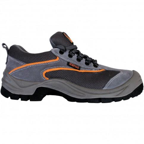Pantofi de protectie Emerton cu bombeu metalic, piele spalt +  material textil, gri, S1, marimea 42