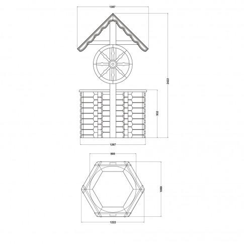 Fantana acoperita hexagonala, decoratiune gradina, 120 x 140 x 242 cm