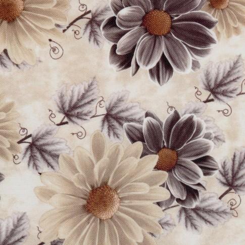 Fotoliu fix Tudor, stofa, maro + model floral, 1C