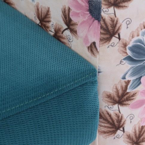 Fotoliu fix Tudor, stofa, turcoaz + model floral, 1C