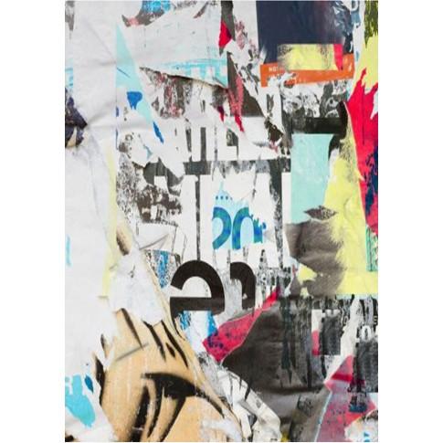 Biblioteca living Urban, stejar pastel + gri + print 26, 260 cm, 5C