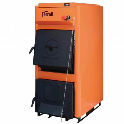 Cazan termic pe brichete, tocatura, Ferroli FSB Pro N 30, cu ardere normala, din otel, 30 kW