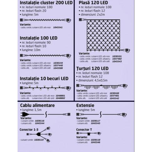 Instalatie brad Craciun, Hoff Net 704100, 90 LED-uri albastre + 10 LED-uri flash, 10 m, interior / exterior