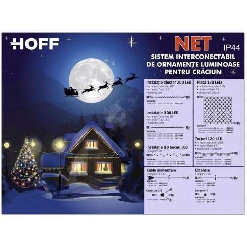 Instalatie brad Craciun, Hoff Net, 90 LED-uri albe cu lumina calda + 10 LED-uri flash, 10 m, interior / exterior, cablu alb