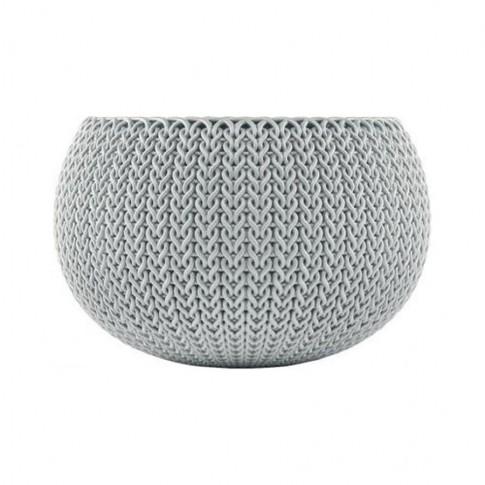 Ghiveci din plastic cu finisaj ratan sintetic Cozies Curver, suspendat, argintiu D 28 cm