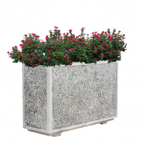 Ghiveci din beton Oxford, alb, dreptunghiular, pentru exterior, 70 x 35 x 36 cm