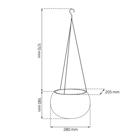 Ghiveci din plastic cu finisaj ratan sintetic Cozies Curver, suspendat, crem D 28 cm