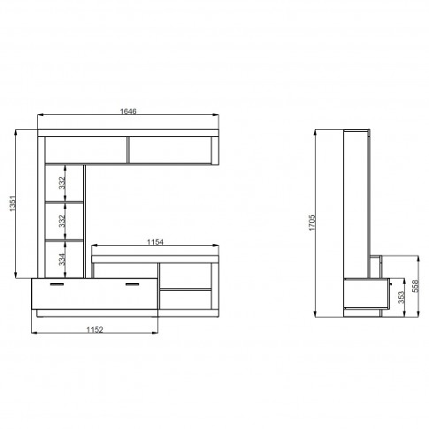 Biblioteca living Glen, stejar gri + alb, 170.5 cm, 2C