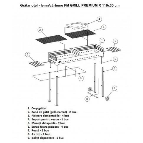 Gratar gradina, cu carbuni, Premium 3172 , demontabil, otel, 116 x 30 cm