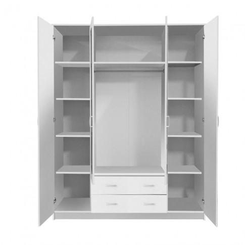 Dulap dormitor Hana 4K2F2O, alb, 4 usi, cu oglinda, 160 x 52 x 205 cm, 3C